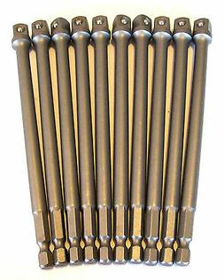 "10 GOLIATH INDUSTRIAL 6"" POWER EXTENSION BARS 3/8"" SCREW BIT"
