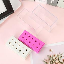 10 Holes Nail Drill Bit Holder Display Standing With Cover S