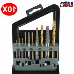 10 pc Set Screw Extractor Kit Remove Broken Bolts Fasteners
