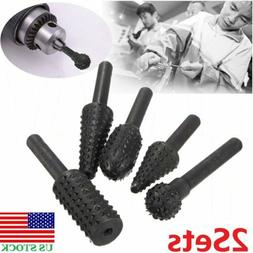 10xCarbon Steel Rotary Burr Set 1/4''6mm Round Shank Wood Ca