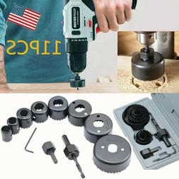 11PCS Hole Saw Drill Bit Kit Set Mandrel Wood Sheet Metal Pl