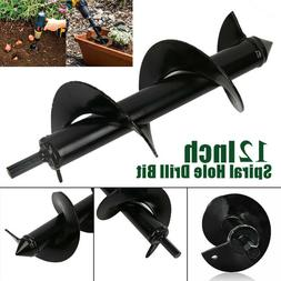 12 x 3 Inch Planting Auger Spiral Hole Drill Bit For Garden
