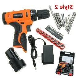 12V Cordless Drill Electric Screwdriver Power Driver Kit Li-