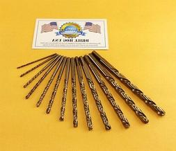 13 Pc COBALT Drill Bit Set Cobalt M42 HSSCO Drill Hog USA Li