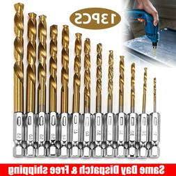 13pc Drill Bit Set Titanium Coated HSS High Speed Steel Hex