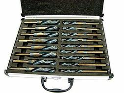 17pc Large Size Drill Bit Set Industrial Steel Black and Gol