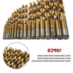 19pcs hss metric drill bit set titanium
