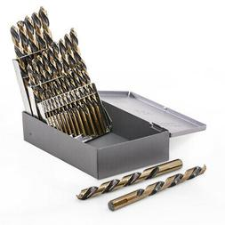21pc Industrial Drill Bit Set Black and Gold Finish HSS 135