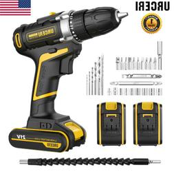 URCERI 21V Max Batteries Cordless Electric 2 Speed LED Drill