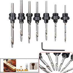 22x Tapered Drill Countersink Bit Screw Set Wood Pilot Hole