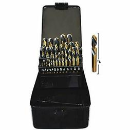 "29PC Short Length Drill Bits Stubby Industrial Black "" Gold"