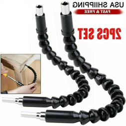 2Pcs Right Angle Drill and Flexible Shaft Bits Extension Scr