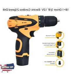 "3/8"" 12V Lithium-Ion Battery 2-Speed Cordless Electric Drill"