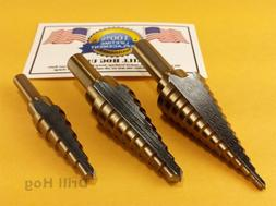 3 Pc Step Drill Bit Set REAMER Step Bit Set UNIBIT Lifetime