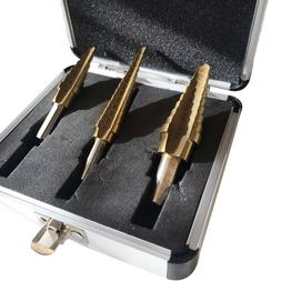 CMT 3 Piece Titanium Step Drill Bit Set M2 Steel 28 Sizes SA