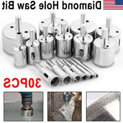 30Pcs Diamond Hole Saw Drill Bit Set Cutting Tool For Tile M
