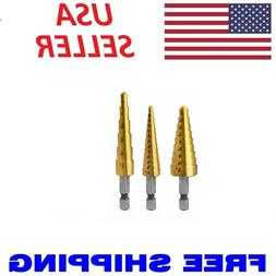 3pc Step Drill Bit Set Unibit Titanium HSS M2 28 Sizes Indus