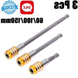 "3x 1/4"" Hex Quick Release Magnetic Screwdriver Extension Bit"