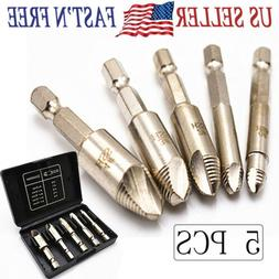 5Pcs Damaged Screw Extractor Remove Set Screws Bolt Extract