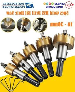 5PCS Multi-Purpose Power Bit Set HSS Titanium Coated Hole Sa