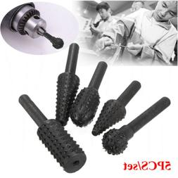 5pcs Woodworking Rotary Burr Set Wood Carving File Rasp Dril