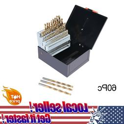 60pc Drill Bit Set M2 H-SS High Speed Steel Bits Numbered #1