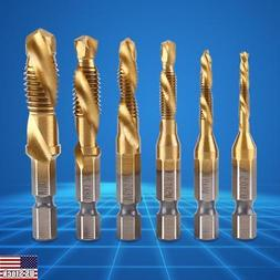 6x HSS Countersink Tap Drill Bit Set Combination Hex Shank T