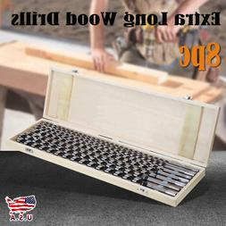 """8Pcs Auger Drill Bit Set 24"""" Extra Long Wood Drills With Woo"""