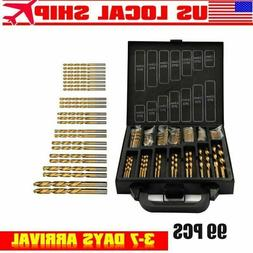 99pcs/set Titanium Coated HSS Twist Drill Bits Metric System
