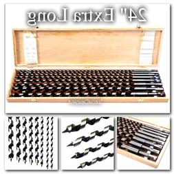 "Auger Drill Bit Set 8pc 24"" Extra Long Wood Drills New With"