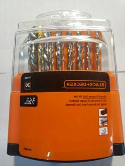 BLACK+DECKER 20-Piece High-Speed Steel Twist Drill Bit Set L