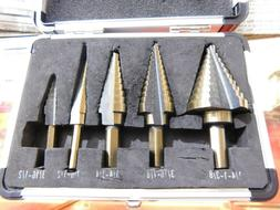 CO-Z Step Drill Bits, HSS 5PCS Titanium Step Drill Bit Set,