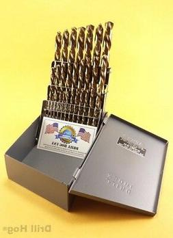 29 Pc Cobalt Drill Bit Set Twist M42 Round Shank Lifetime Wa