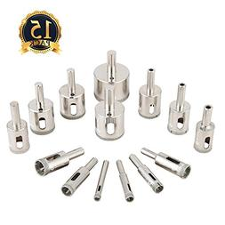 Diamond Drill Bits, Genround 15 PCS Hollow Core Drill Bit Se