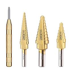 Step Drill, Tacklife PSD1 Titanium Step Drill Bit Set with A