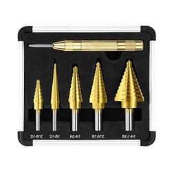 DSQ Step Drill Bit Set & Automatic Center Punch,High Speed S