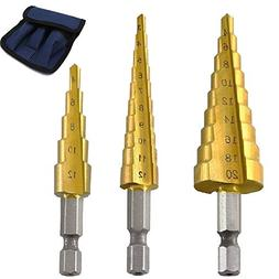 Step Drill Bit Set by Volterin, Cone Titanium Coated High Sp
