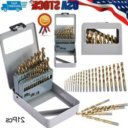 21 Pc Drill Bit Set M35 Cobalt for Metal Aluminum, Stainless