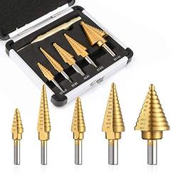 Step Drill Bits 5pcs High Speed Steel Drill Bits and 1 pc Au