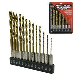 13pc Hex Shank Titanium Drill Bit Set MULTI BITS