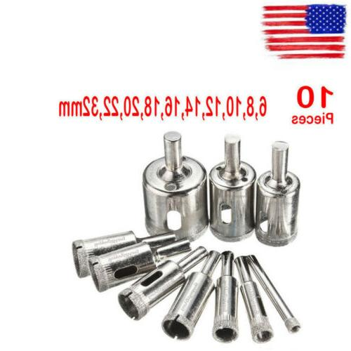 10 Diamond Holesaw Drill Bit Hole Saw Set For Cutter Glass C