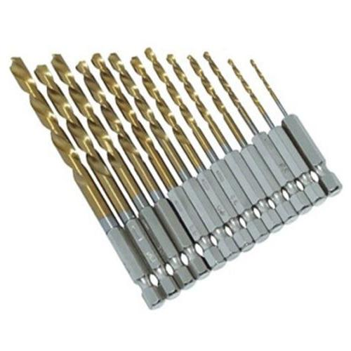 13Pc HSS Titanium Coated Drill Bit Set With 1/4inch Hex Shan