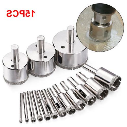 15P 6-50mm Coated Drill Bit Set Hole Saw Glass Tile TM