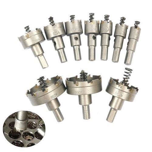 10pcs/16-53mm Carbide Tip Drill Bit Hole Saw Stainless Steel
