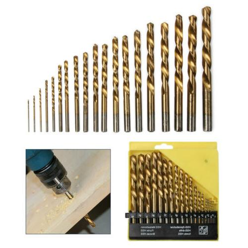 19pcs Bit Set Twist Metal 1-10mm