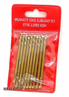 "2 PACKS OF 10-PC 1/8"" Double End Titanium HSS Drill Bits"