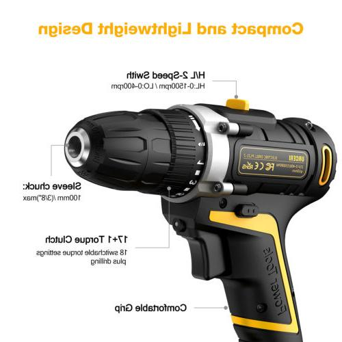 21V Cordless Electric Screwdriver Driver with Battery Bits Set US
