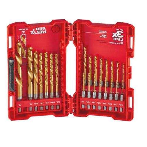 23pc Titanium Drill Bit Set + Case