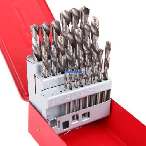 25Pcs Twist High Speed Steel Drill Kit Set Drilling Bit Meta