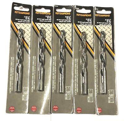 "3/8"" Drill Bit Jobber Length High Speed Steel Bits 5 Pack"